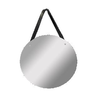 FLY-miroir d.50cm laniere cuir