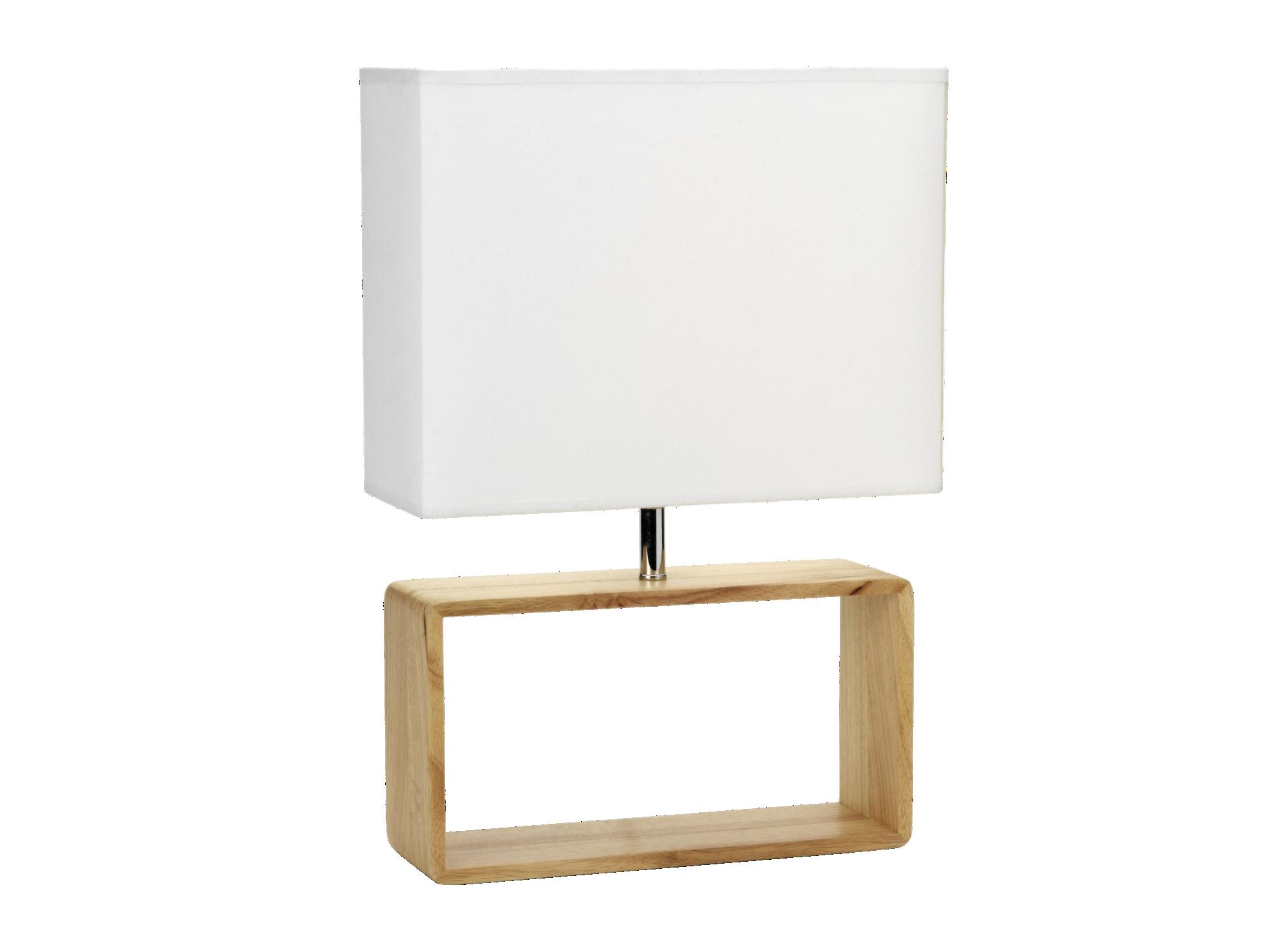 Lampe a poser h50 abat-jour rectangulaire en coton coloris blanc pie ...