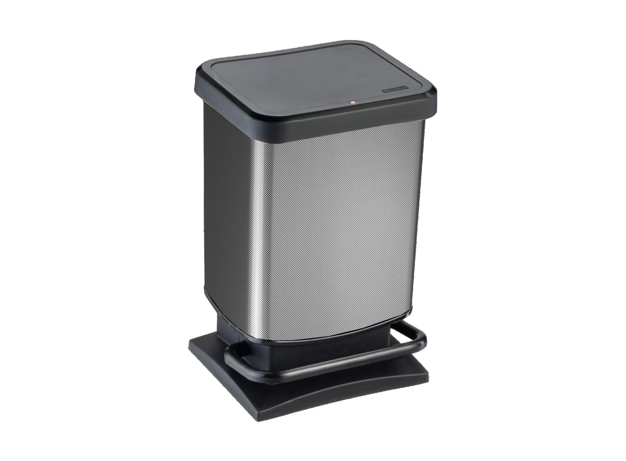 Poubelle a pedale contenance 20l en plastique aspect carbon e         ...