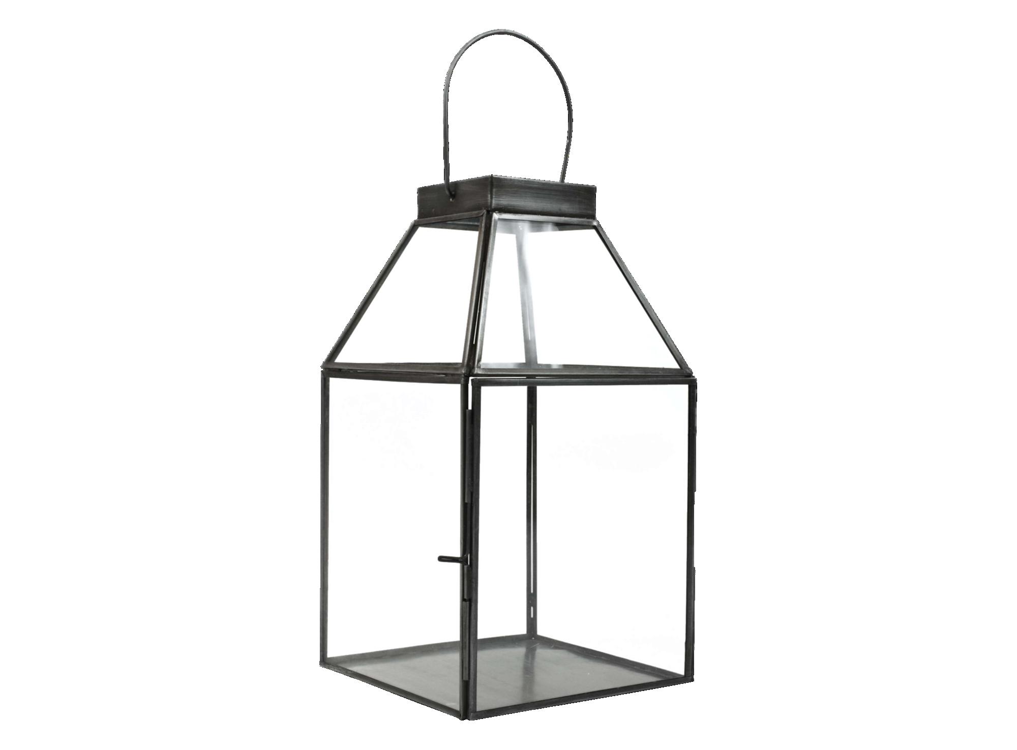 Lanterne h29cm en acier galvanise et verre mecanique transparent colo ...