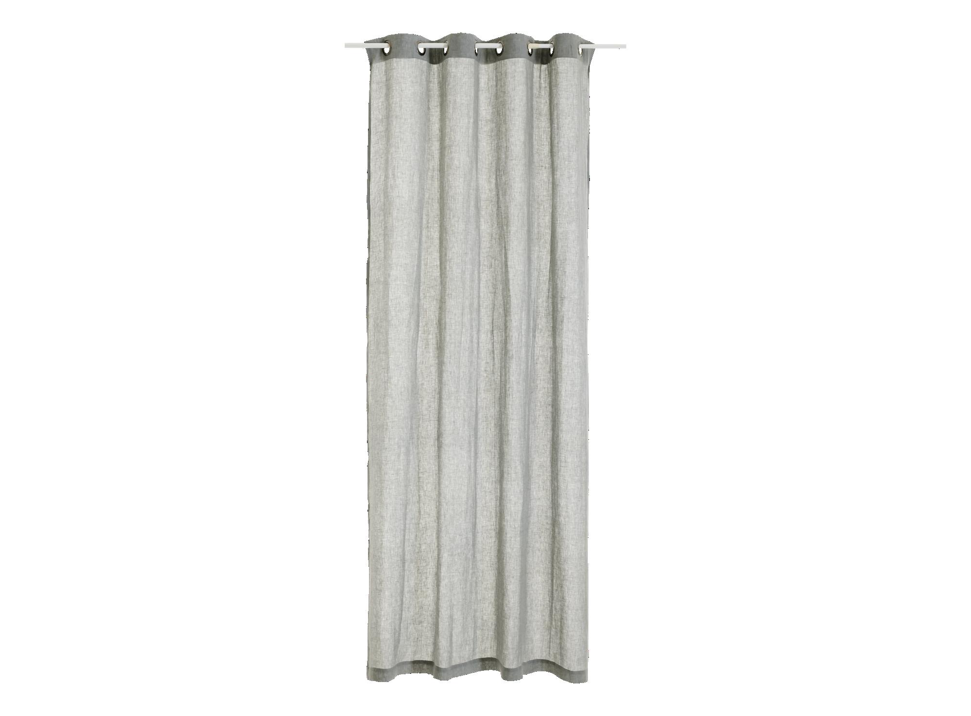 Rideau 140x250cm 100% lin coloris gris densite 150g/m2 lavable en ma ...