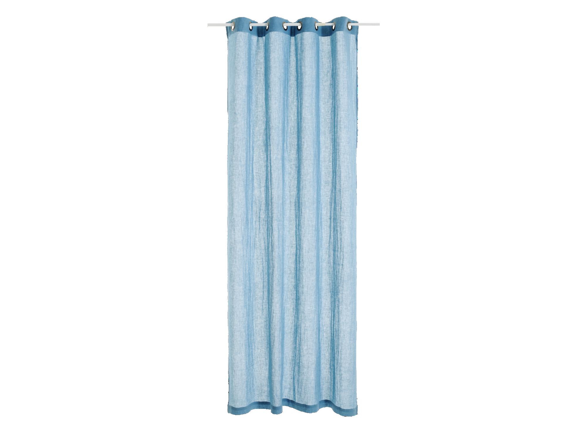 Rideau 140x250cm 100% lin coloris bleu ciel densite 150g/m2  lavable  ...