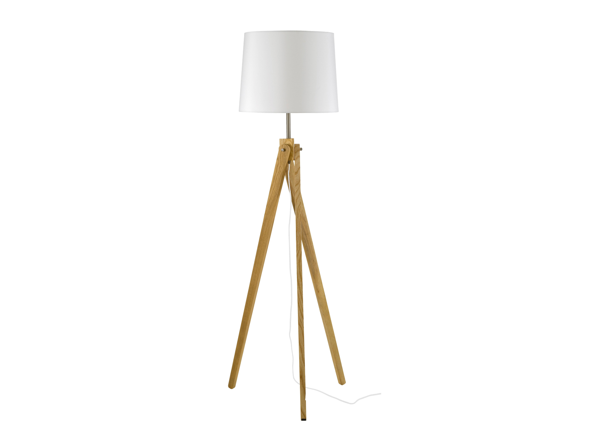 Lampadaire trepied h 167 cm frene blanc fly for Lampe salon fly