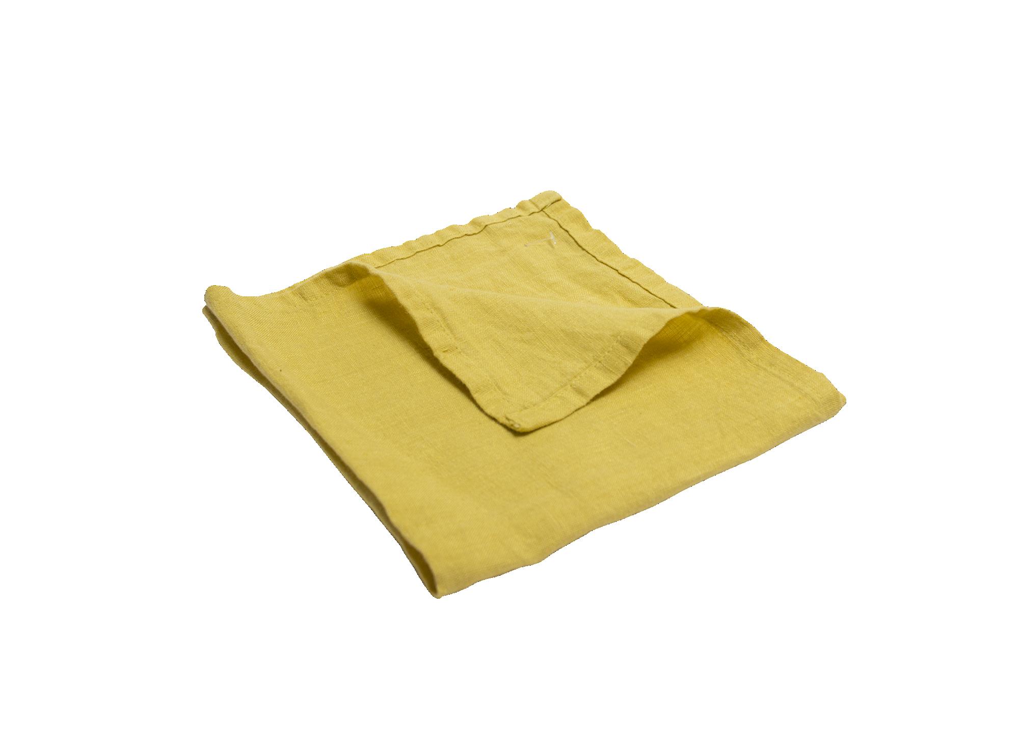 Serviette 40x40cm 100% lin coloris moutarde densite 150g/m2  lavable  ...