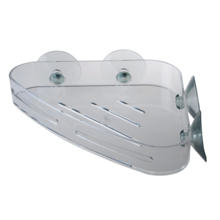 FLY-etagere d'angle a ventouses 23x15 cm transparent