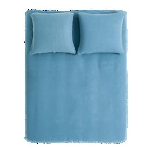 FLY-housse de couette 220x240cm+2taies lin bleu
