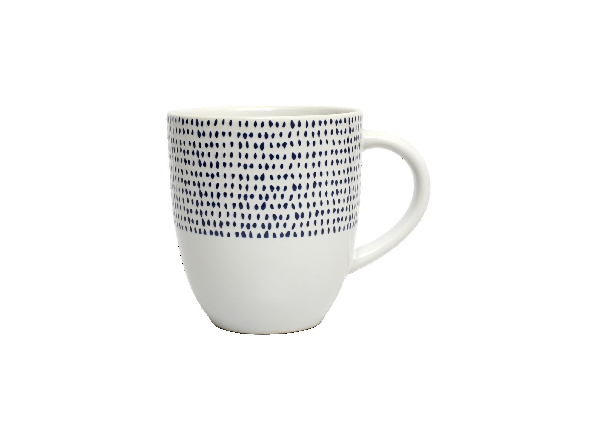 Mug 35cl en gres - coloris blanc et bleu - resiste au lave vaisselle  ...