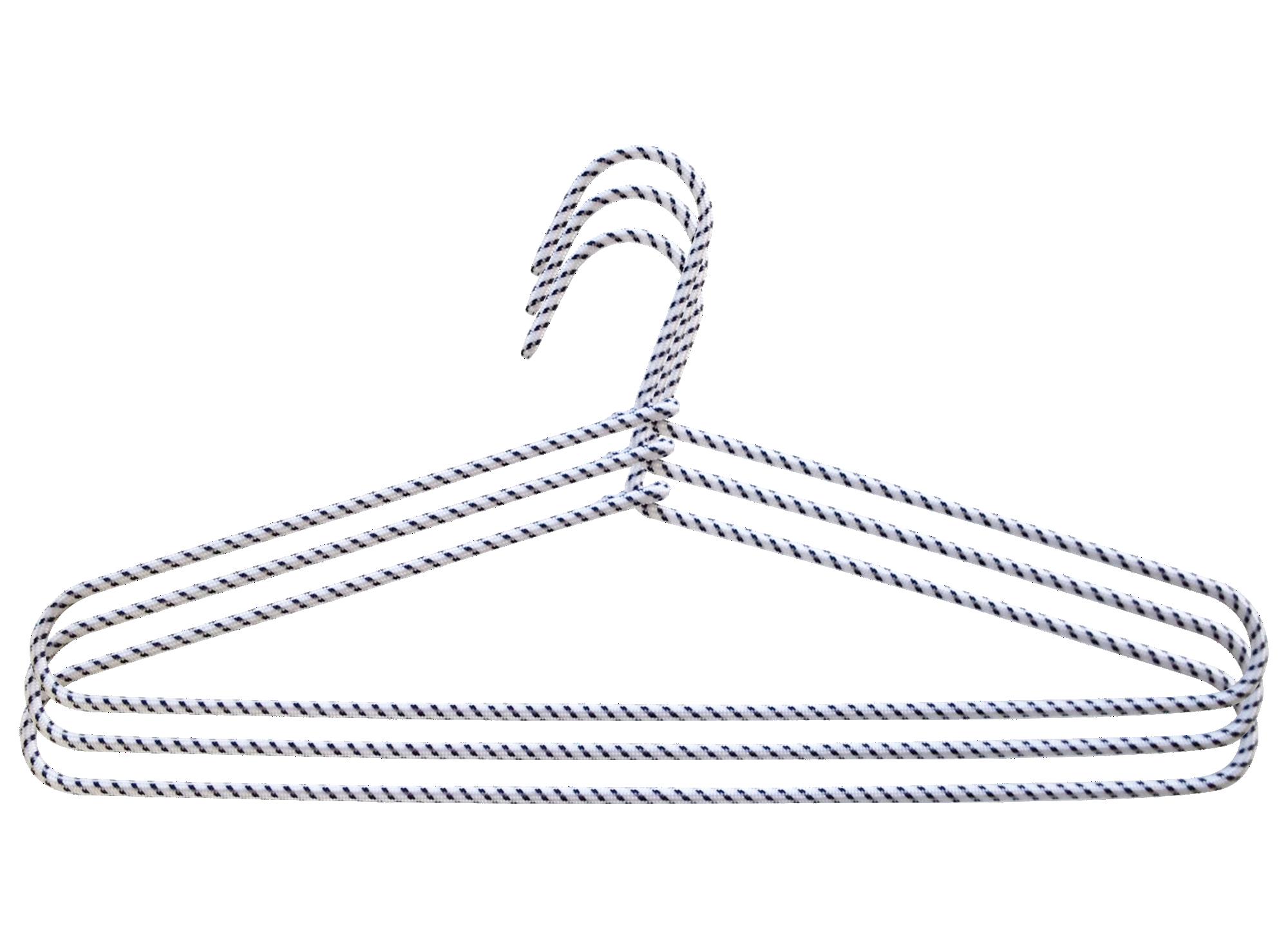 Lot de 3 cintres gaines en corde bicolore blanc et noir
