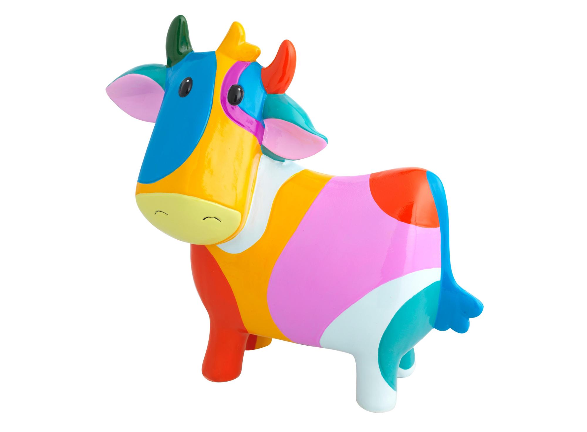 Tirelire en forme de vache en faience peinte, vernis coloris multicol ...