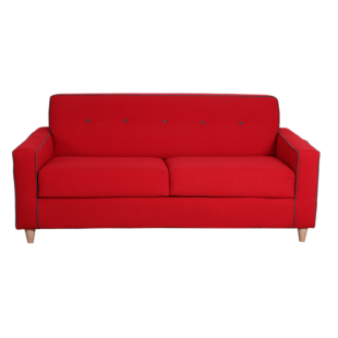 FLY-canape convertible rouge passepoil gris