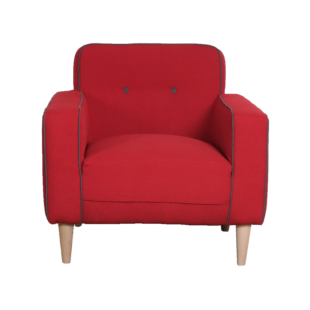 FLY-fauteuil rouge passepoil gris