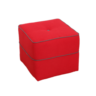 FLY-pouf rouge passepoil gris