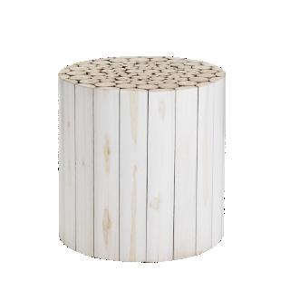 FLY-pouf bois blanc