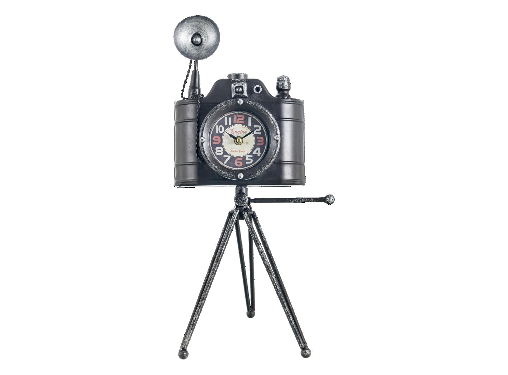 Horloge en forme d'appareil photo retro en fer h50.5cm - fonctionne a ...