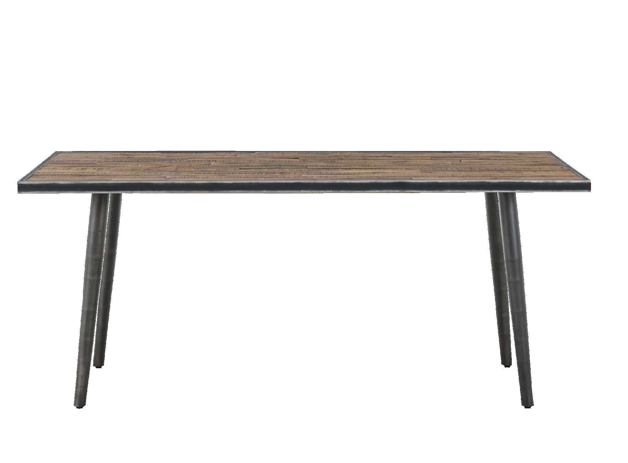 Table : structure et pietement en metal (fer brosse).plateau en mix a ...