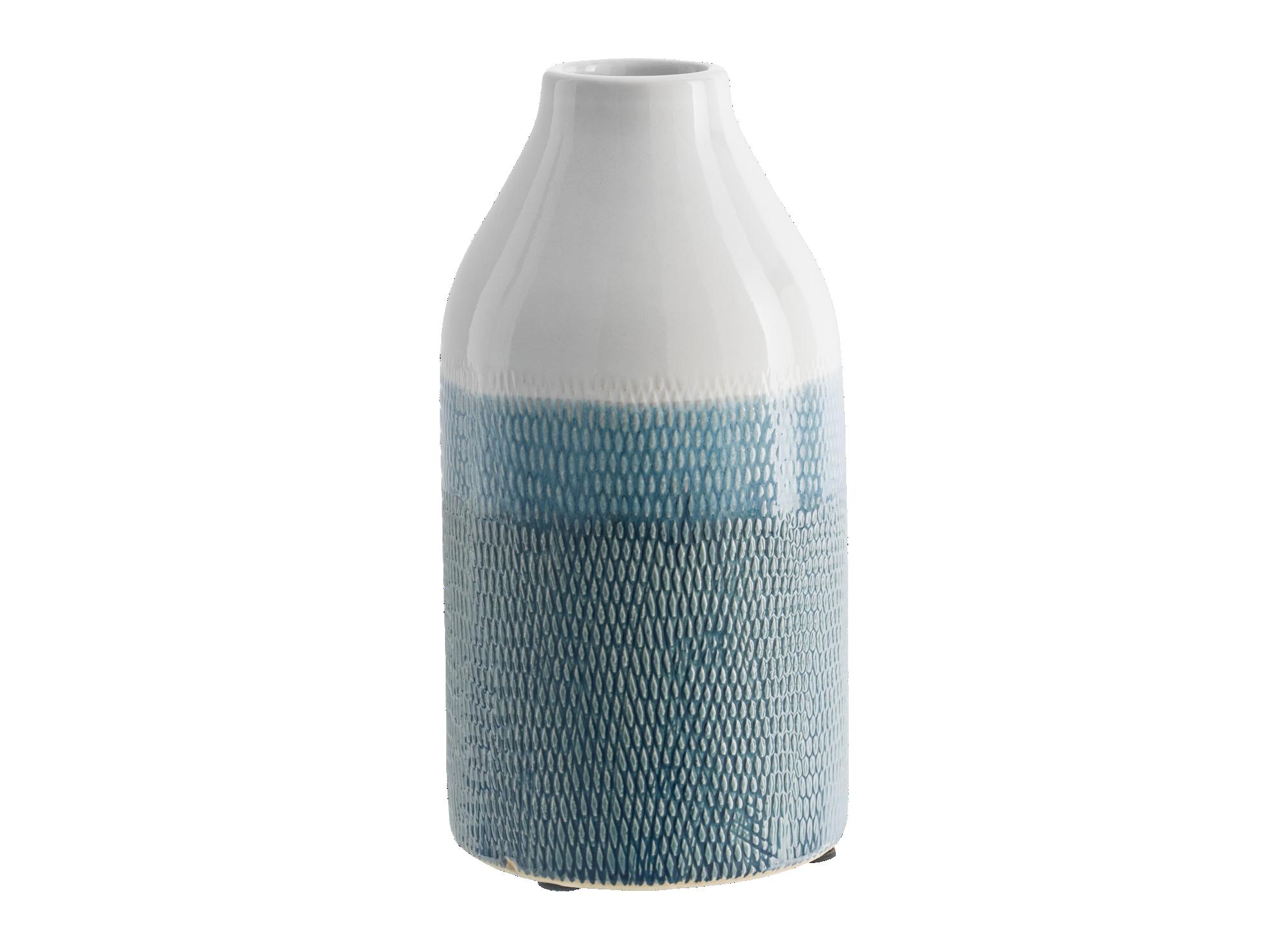 Vase h27cm en faience coloris  bleu/blanc