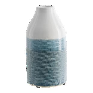 FLY-vase h27cm bleu/blanc
