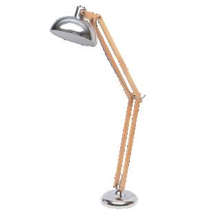 FLY-lampadaire h170cm bois/chrome