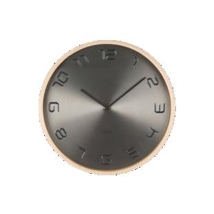 FLY-horloge d35cm metal gris cadre bois