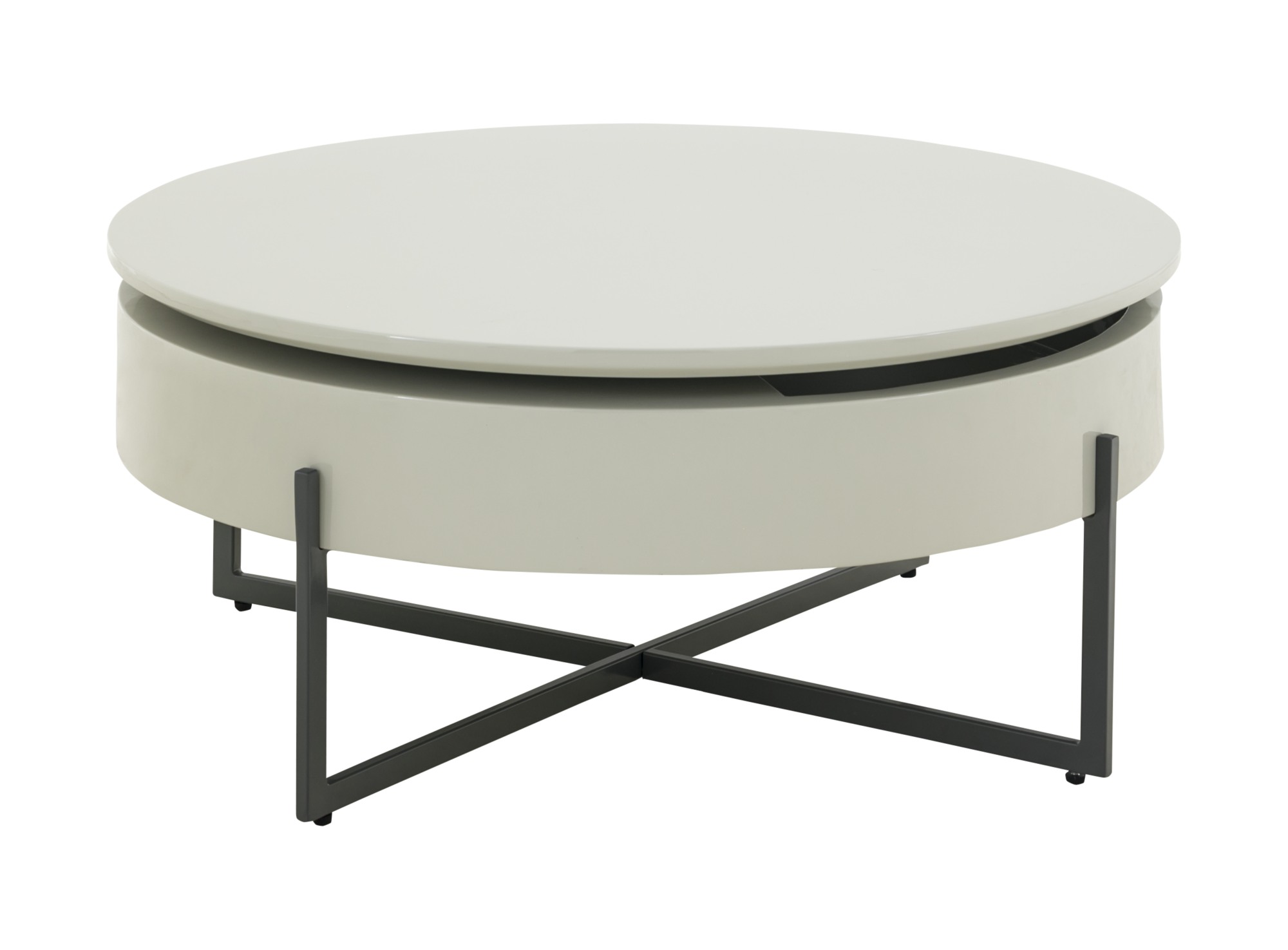 Table basse rotative laque gris fly for Table qui se leve
