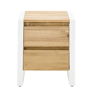 FLY-chevet 1 tiroir metal blanc / bois