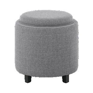 FLY-pouf tissu gris/plateau bois