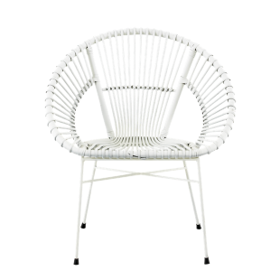 FLY-fauteuil rotin blanc