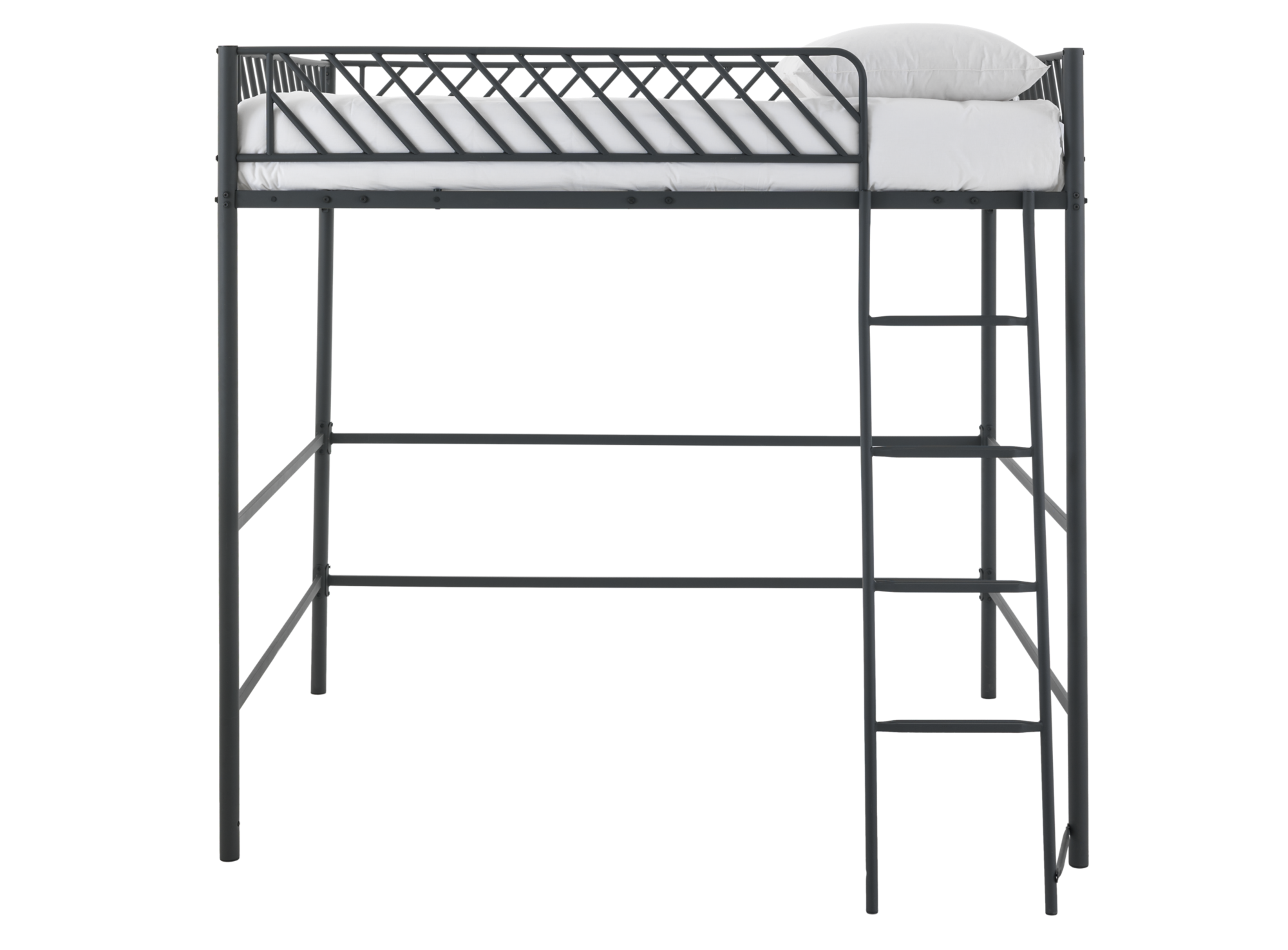 lit mezzanine 140x190cm metal noir fly. Black Bedroom Furniture Sets. Home Design Ideas