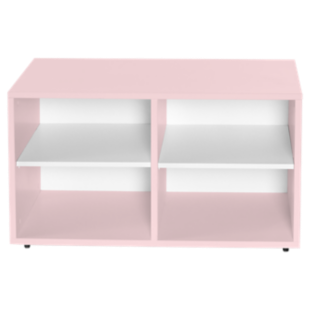FLY-caisson 4 cases a roulettes laque rose