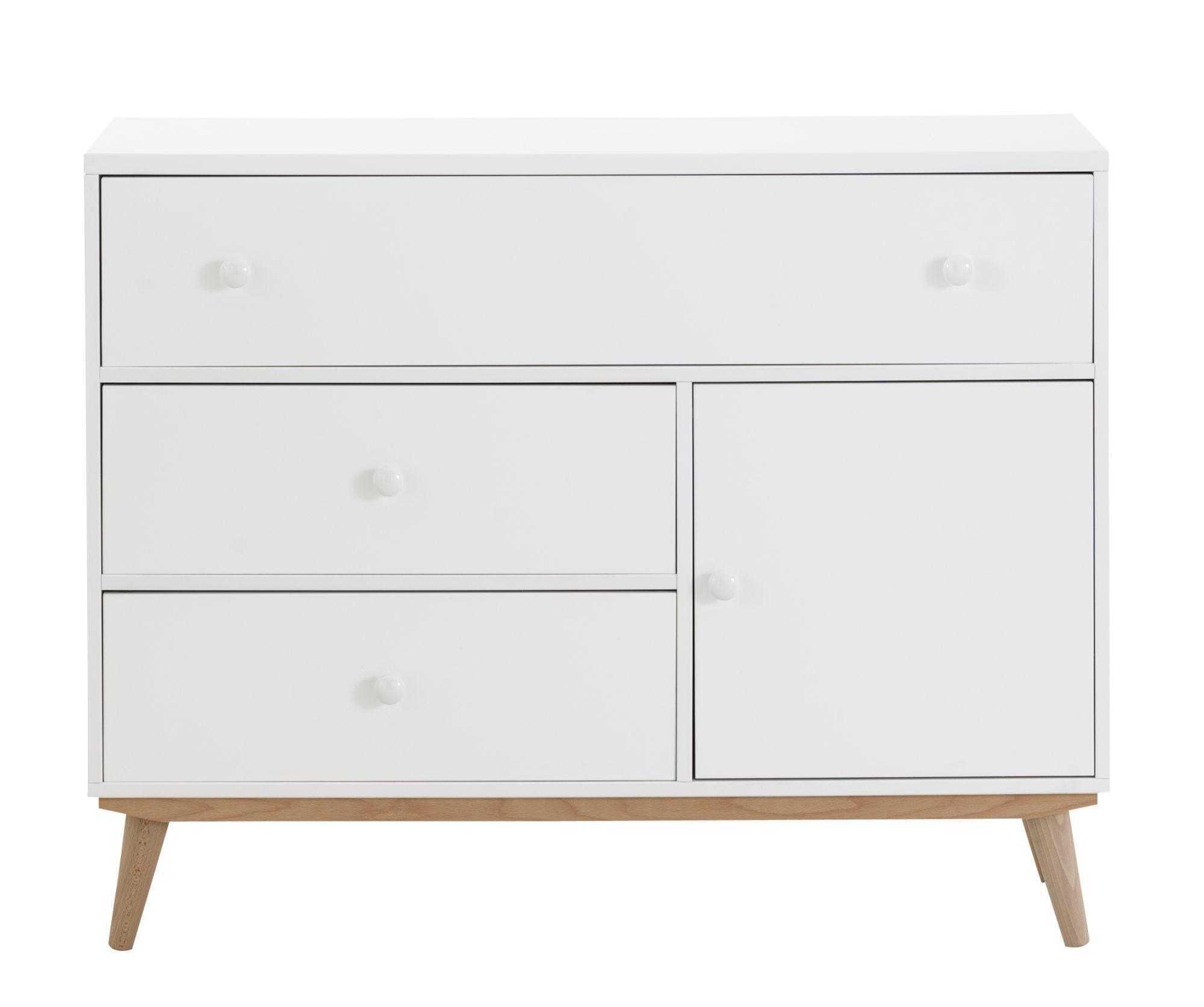 mode 3 tiroirs 1 porte blanc pieds bois mode Chambre