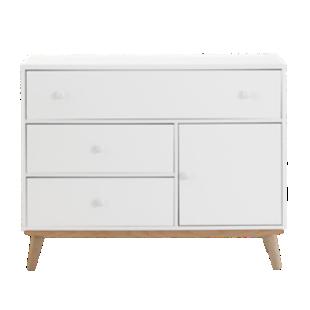 FLY-commode 3 tiroirs 1 porte blanc / pieds bois