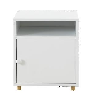 FLY-chevet 1 porte blanc / pieds bois