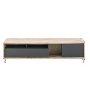 FLY-meuble tv 1 tiroir et 1 abattant chene/gris
