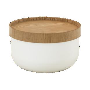 FLY-table basse d51 blanc/plateau bois
