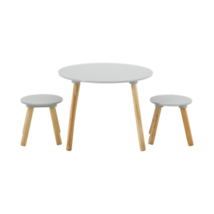 FLY-set table + 2 tabourets taupe / pieds bois