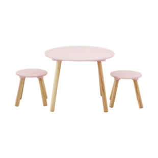 FLY-set table + 2 tabourets rose / pieds bois