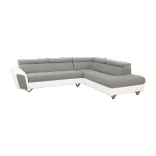 FLY-angle droit tissu gris clair / pu blanc