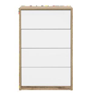 FLY-chiffonier 4 tiroirs blanc / chene