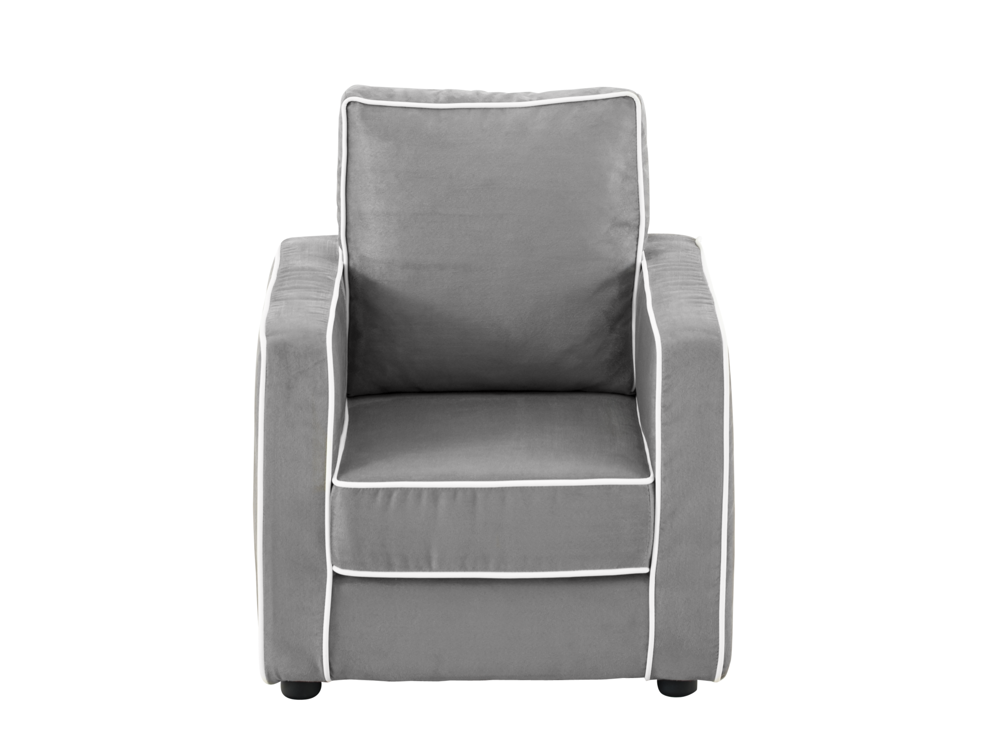 fauteuil enfant tissu gris passepoil blanc fly. Black Bedroom Furniture Sets. Home Design Ideas