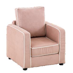 FLY-fauteuil enfant tissu rose / passepoil blanc