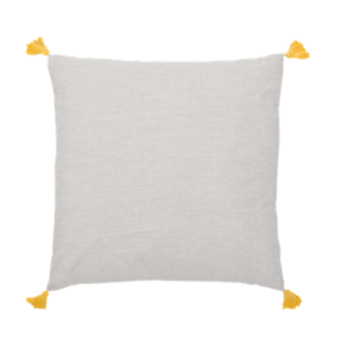 FLY-coussin coton 40x40 naturel/pompon moutarde
