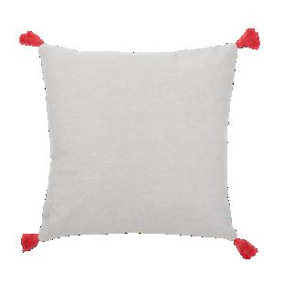 FLY-coussin coton 40x40 naturel/pompon bordeaux