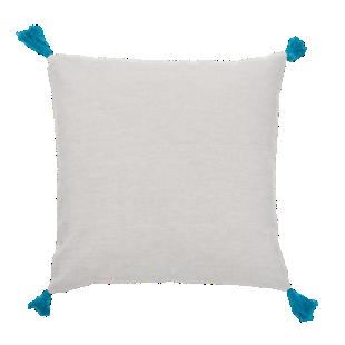 FLY-coussin coton 40x40 naturel/pompon bleu