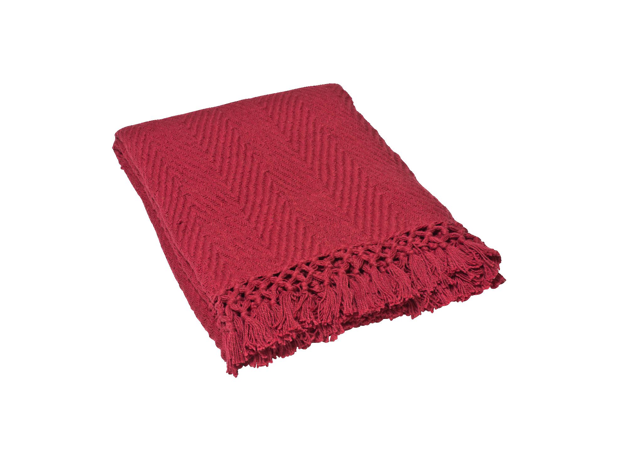 Plaid 130x160 100% coton coloris rouge densite 400gr/m2 lavable en m ...