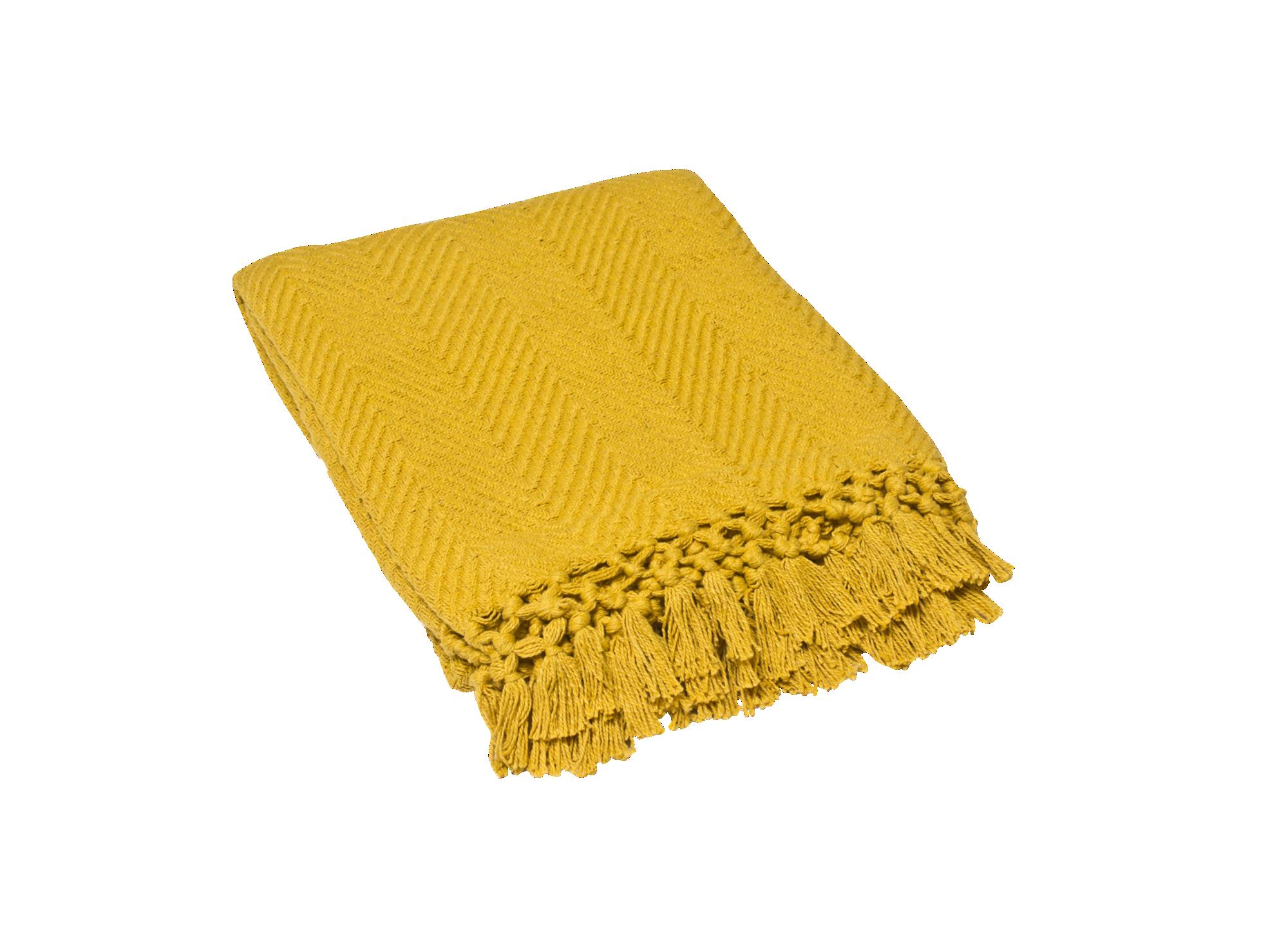 Plaid 130x160 100% coton coloris moutarde densite 400gr/m2  lavable e ...