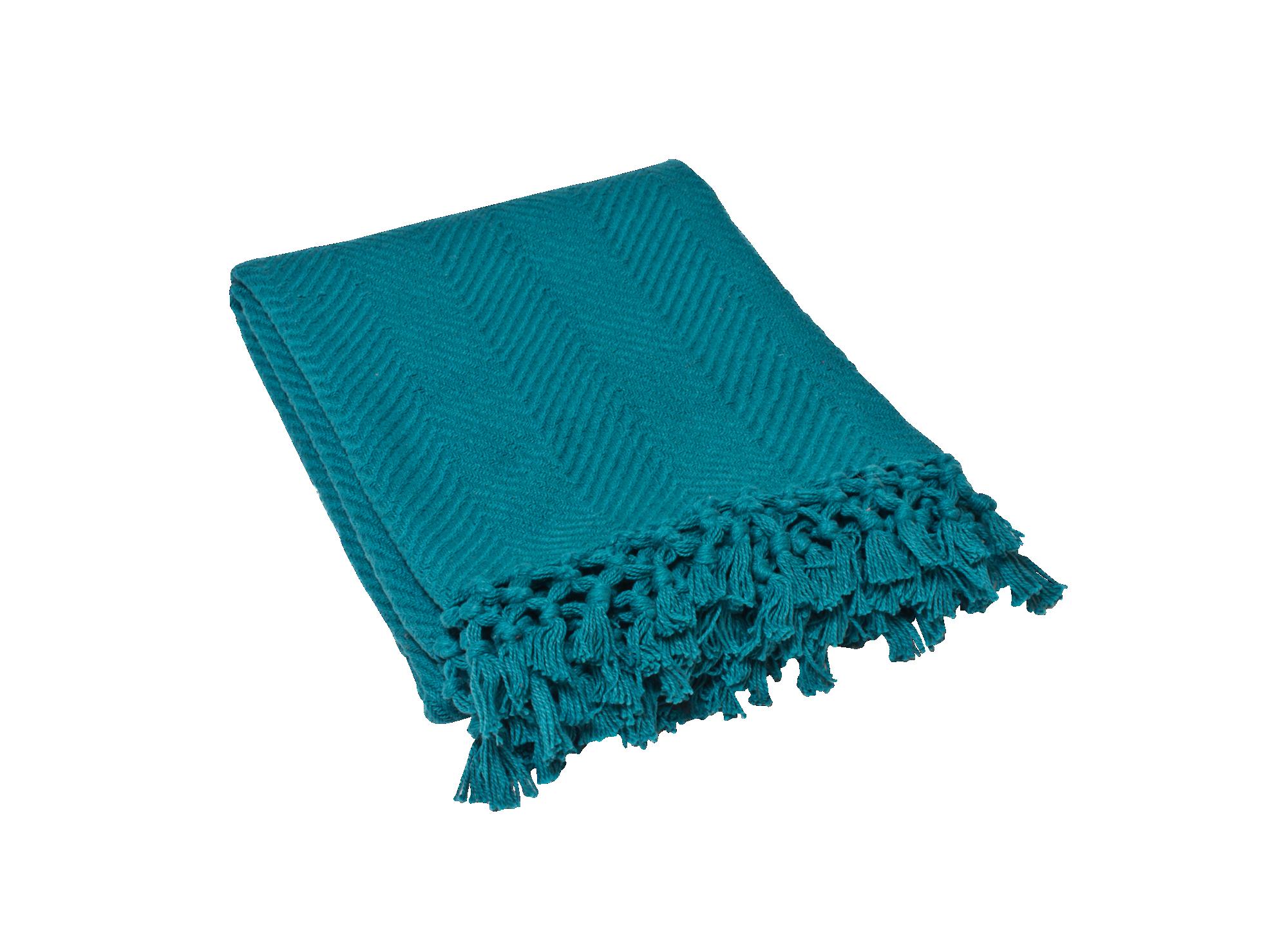 Plaid 130x160 100% coton coloris bleu canard densite 400gr/m2 lavabl ...