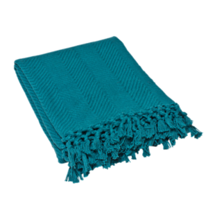 FLY-plaid coton 130x160 bleu canard