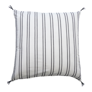 FLY-coussin grandes rayures coton 60x60 iv/noir