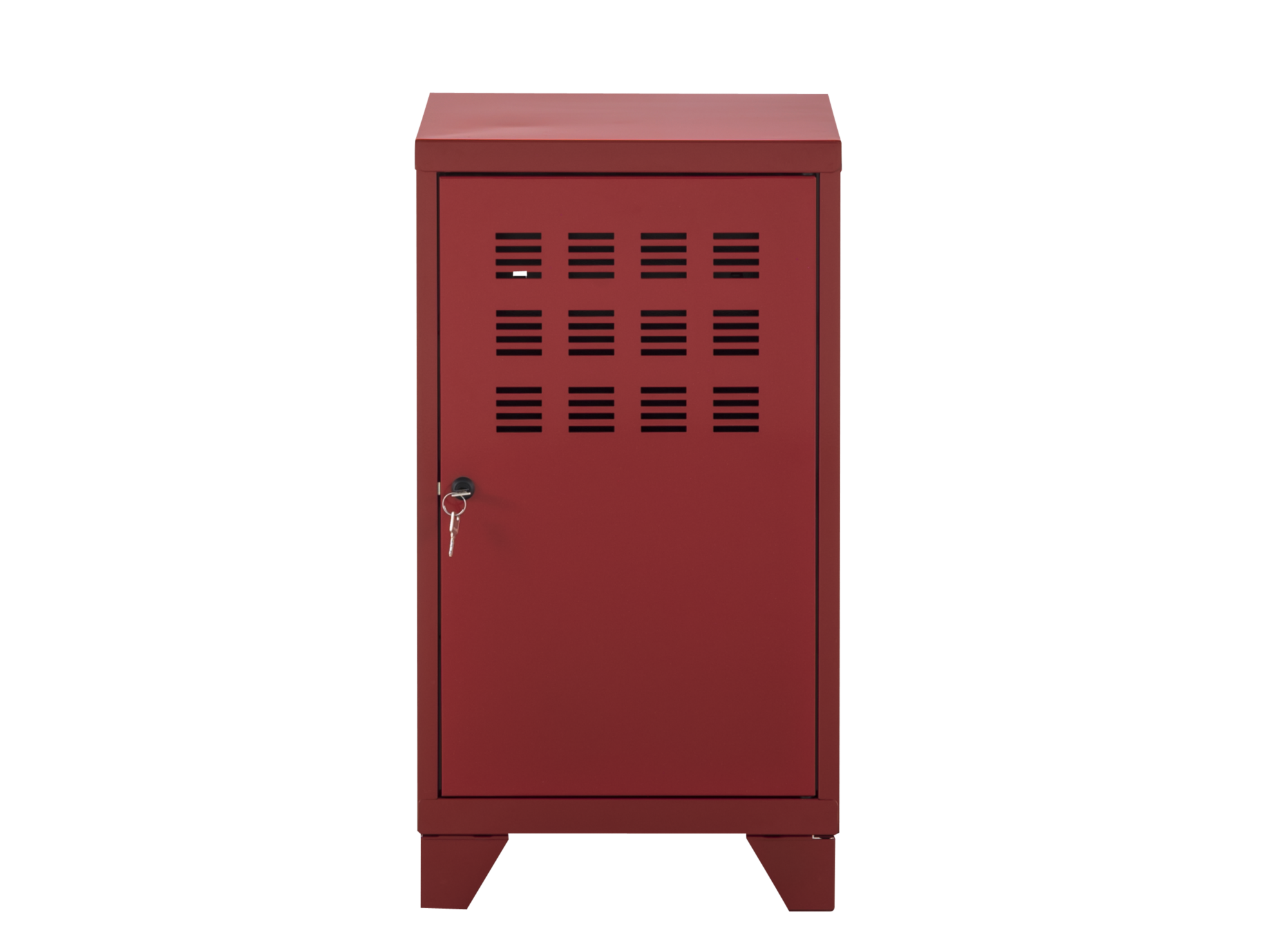 Rangement 1 porte h75 metal rouge meuble de rangement for Meuble acier fly