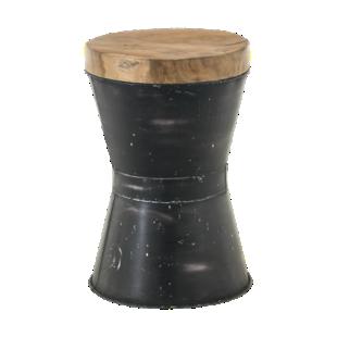 FLY-pouf metal / plateau bois
